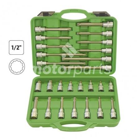 Estuche de puntas para tornillos de 12 cantos 26 piezas
